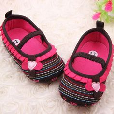 Newborn Baby Infant Girls Toddler Crib Shoes with Flower Ruffled Soft Sole