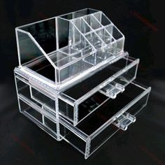 New Cosmetic Jewellery Rack Makeup Organizer Box Case Clear 2 Storage Drawers