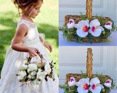 Flower girl basket - BellasBloomStudio Wedding Arch Rustic, Diy Wedding, Wedding Ideas, Flower Girl Basket, Flower Girls, Flower Crown Wedding, Wedding Flowers, Cheap Wedding Decorations, Tropical Flowers