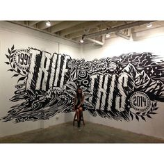 It is important to always be open to the things around you, because inspiration can come from anywhere and anything around you. So in this post i'll showcase 34 inspiring typography wall mural designs to feed your design inspiration. Graffiti Painting, Mural Painting, Mural Art, Wall Murals, Wall Art, Street Mural, Street Art, Barber Shop Decor, Beautiful Fonts