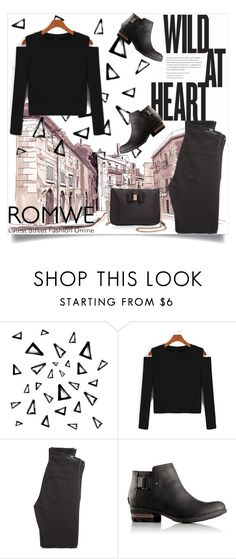 """""""Black w/ Romwe"""" by maidaa12 ❤ liked on Polyvore featuring Nika, Citizens of Humanity, SOREL and Ted Baker"""