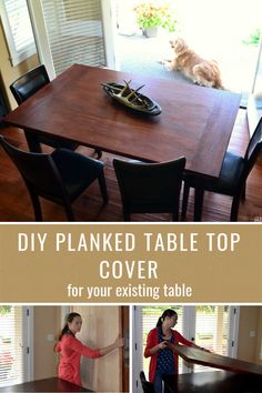 Use what you have and create this DIY planked table top cover for your existing table. #diy #diyhome #diytable #howto #plankedtable #DIYtable #farmhousestyle #diyfarmhousestyle