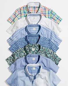 J.Crew short-sleeve button-downs. In the best, comfiest fabrics on the planet, like shrink-proof Secret Wash cotton and oxford cloth that gets softer with wear.