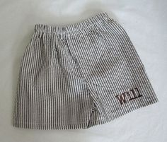 Boy's Chocolate Brown Seersucker Boxer Shorts Monogrammed For Free. $14.99, via Etsy.