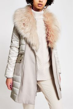 Buy River Island Stone Nina Hybrid Padded Jacket from the Next UK online shop Faux Fur Collar, Faux Fur Jacket, Padded Jacket, Long A Line, Short Skirts, Coats For Women, Style Guides, River Island, Knitwear