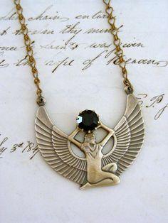 Necklace - Cleopatra ISIS Egyptian - Dark Red Garnet - Vintage Brass - Handmade