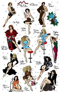 the ladies of Twin Peaks in pin-up fashion.