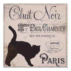 vintage+black+cat+images | Vintage French Sign, Chat Noir, Paris, Black Cat Posters