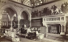 Eaton Hall. The Saloon. Shows 2 of the Gothic chairs in their original location. Now the set of 8 is in the Octagon Room, Basildon Park. Perhaps acquired at a clearance sale in summer of 1961. Confirmation required.
