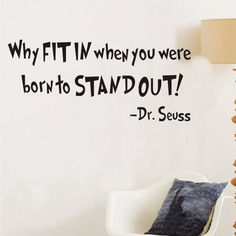 """57*25.4cm """"why fit in when you wereborn to STAND OUT"""" wall sticker dr seuss wall decal quote living room decoration ZY8055"""