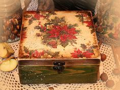 Christmas gifts Jewelry tea cookie box / vintage decoupaged Unique handmade shabby chic rustic style. $60.00, via Etsy.
