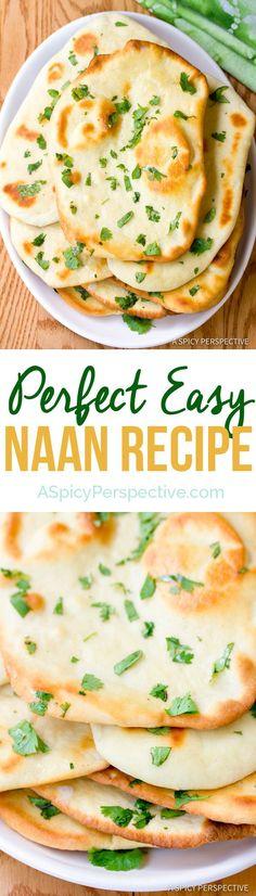 Perfect Easy Naan Recipe | ASpicyPerspective.com @spicyperspectiv
