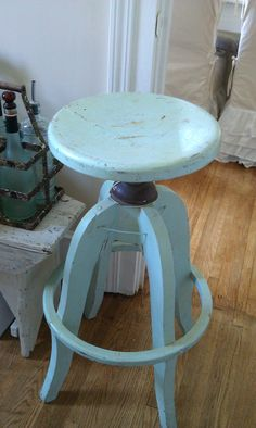Industrial Vintage Stool in Robin's Egg Blue by shabbychatue, $95.00