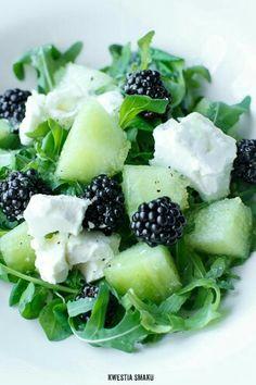 Meloen, bramen, feta en rucola salade