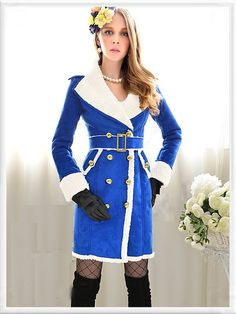 Morpheus Boutique  - White Blue Color Block Double Breasted Long Sleeve Belted Lady Overcoat