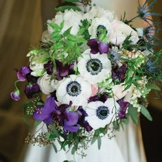Lush purple, green and white anemone bouquet | Kaleidoscope Weddings | Beautiful Blooms