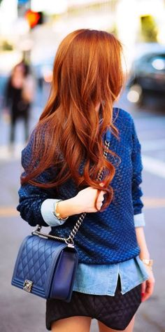 Navy Blue Sweater,Handbag and Fluffy Skirt. I'm pinning this once for her adorable sweater, and again for that gorgeous hair color!
