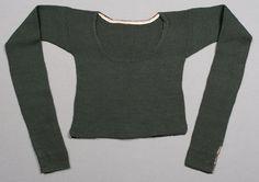 Spedetröja i mörkgrönt ullgarn, sydvästra Skåne, ca 1800-80. Hemslöjdens samlingar, nr. MSSH-0627