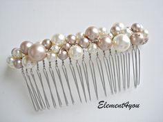 Ivory pearl comb. Hair comb. Bridal hair accessories. Light champagne pearls. Bridesmaid hair comb. Wedding hair do. Veil attachment. Bride. $26.00, via Etsy.