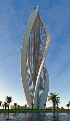Blossoming dubai - based on the form of a blossoming flower. The tower is equipped with two elevators running on spiral rails (spiral of the most simple geometry turning 135 degrees while ascending 138 meters). These lifts ascend from lower ground floor to the cafeteria level and the viewing platform above.