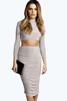 Sinead Slinky Ruched Side Midi Skirt alternative image
