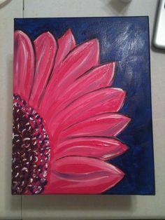 11x14 pink gerber daisy painting on blue www.facebook.com/tracysjoyfulpapercraft