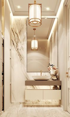 Luxuriöses Badezimmer mit Marmor- und Golddetails- - - Luxurious bathroom with marble and gold details - # wall design - Home Room Design, Home Interior Design, House Design, Neoclassical Interior Design, Marble Interior, Interior Ideas, Bad Inspiration, Bathroom Inspiration, Bathroom Ideas