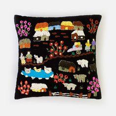 Folktale Throw Pillow - Black - Someware