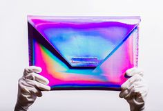 Handmade notebook case with an ultra-reflective holographic effect. The shiny violet color varies by looking at it from various angles and changes Holographic Bag, Candy Images, Candy Apples, Apple Candy, Notebook Case, Free To Use Images, Fab Life, Handmade Notebook, Tech Accessories