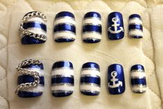 Ahoy Sailor Nautical Nails by LacquerLove on Etsy, $15.00