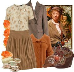 "I preferred the more delicate lacy attire of Geraldine McEwan who appeared as Miss Marple (2004 to 2009), the Agatha Christie sleuth. (""Miss Marple"" by fashionmefabulous ❤ liked on Polyvore)"