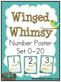 These whimsical, bird themed posters will help your students learn numbers, number words & develop number sense!