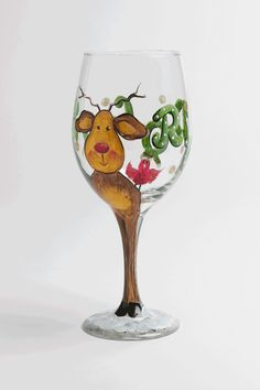 Wine Glass Painting Supplies | ... wine stem rudolf shines brightly on your clear wine glass not yet
