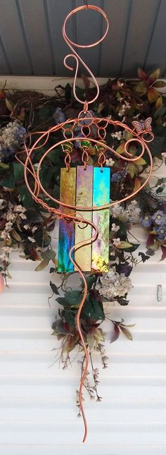 Wind Chimes Copper Garden Art Sculpture Butterfly Stained Glass Windchime Pond/Outdoor/Lawn/Yard