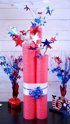 Make inexpensive patriotic decorations with dollar store pool noodles! Only a few dollars and you can make DIY giant pool noodle firecracker decorations! 4th July Crafts, Fourth Of July Decor, 4th Of July Celebration, 4th Of July Decorations, Patriotic Crafts, 4th Of July Party, July 4th, Birthday Decorations, Patriotic Party