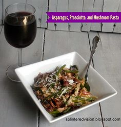 Writing, Reading, and Eating!: Asparagus, Prosciutto, and Mushroom Pasta with Pink Sauce