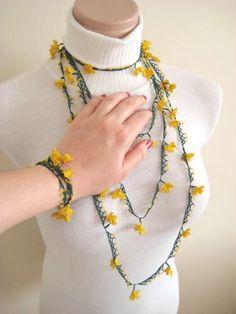 Crochet Necklace and Bracelet (Turkish Oya Lace)