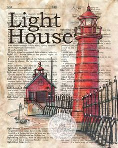 6 x 9 Print of Original, Mixed Media Drawing on Distressed, Dictionary Page    This drawing of a light house is drawn in sepia ink and created with
