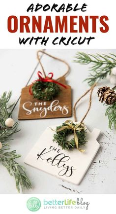 Nov 12, 2020 - Read more on BetterLifeBlog.com House Ornaments, Diy Christmas Ornaments, How To Make Ornaments, Christmas Decorations, Cricut Christmas Ideas, Christmas Projects, Holiday Crafts, All Things Christmas, Christmas Time