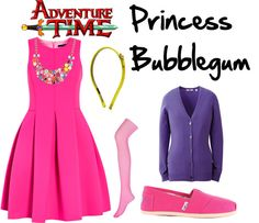 A fashion look from March 2013 featuring fuchsia dresses, v-neck top and pantyhose tights. Browse and shop related looks. Princess Bubblegum Cosplay, Halloween Costumes, Halloween 2015, Bubble Gum, Adventure Time, Style Me, Style Inspiration, Geeks, Holiday Fun