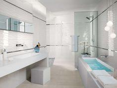 Badezimmer mit Mosaik-Fliesen in 3D-Optik