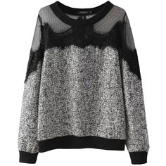 Gray Trendy Womens Crew Neck Sweatshirt Lace Mesh Patchwork Sheer Top ($39) ❤ liked on Polyvore featuring tops, hoodies, sweatshirts, crewneck sweatshirt, gray crewneck sweatshirt, sheer mesh top, sweat shirts y grey crew neck sweatshirt