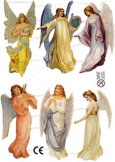 Glittered Christmas angel scraps from Denmark