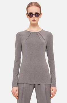Akris punto Pleated Neck Jersey Shirt available at #Nordstrom