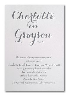 Genuine letterpress printing gets a modern look when you choose the ink color and the lettering style for this typography look wedding invitation. Wedding Invitation Trends, Discount Wedding Invitations, Anniversary Invitations, Letterpress Wedding Invitations, Letterpress Printing, Invitation Set, Bridal Shower Invitations, Invitation Design, Invites