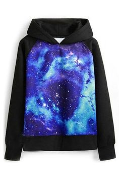 abaday Galaxy Print Hooded Long Sleeves Blue Sweatshirt - Fashion Clothing, Latest Street Fashion At Abaday.com