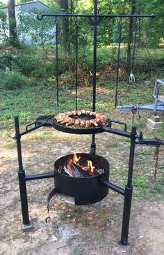 Bbq Pit Smoker, Fire Pit Grill, Diy Fire Pit, Fire Pit Backyard, Barbecue Design, Grill Design, Custom Bbq Smokers, Outdoor Fireplace Patio, Open Fire Cooking