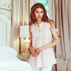 BELL pink and gold eyelet embroidered tunic | www.aliciabell.com
