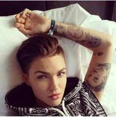 Ruby Rose ♡ she is just so flipping gorgeous like I just wanna break through the screen and like hug her or something lol like words can't even describe her amazing Ness lol she is my role model and my idol lol I love her so much. I'm obsessed with her haha(: