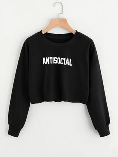 Shop Letter Print Raw Hem Crop Pullover online. SheIn offers Letter Print Raw Hem Crop Pullover & more to fit your fashionable needs.